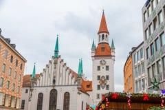 Centre de la ville de Munich au Noël-temps Images libres de droits