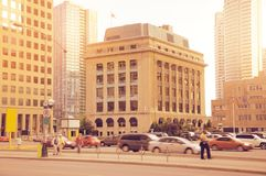 Centre de la ville de Toronto au temps de soirée Photo libre de droits