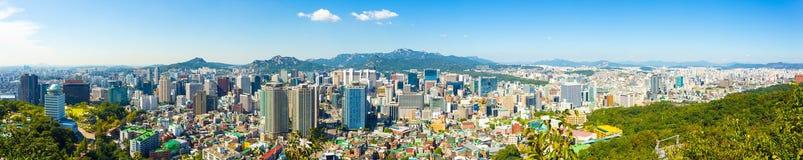 Centre de la ville du centre panoramique de vue aérienne de Séoul Images stock