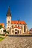 Centre de la ville historique de Bardejov avec l'église de St Aegidius Images stock