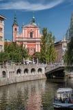 Centre de la ville de Ljubljana avec des canaux et bord de mer en Slovénie photo libre de droits