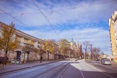 Centre de la ville prolongé Mariahilf à Vienne, Autriche, automne Images stock