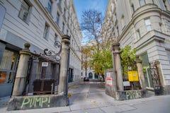 Centre de la ville prolongé Mariahilf à Vienne, Autriche, automne Photographie stock libre de droits