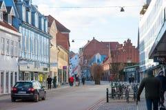 Centre de la ville de Roskilde un jour d'hiver photographie stock