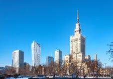 Centre de la ville de Varsovie en hiver Photographie stock libre de droits