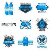 Centre de plongée à l'air ou icônes sous-marines de calibre de vecteur de club de chasse Photos libres de droits