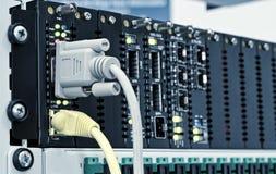 Centre de technologie de gigabit avec des fentes pour le SFP Images libres de droits