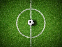 Centre de terrain de football et fond de vue supérieure de boule Photographie stock