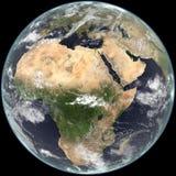 Centre de terre sur l'Afrique, l'Asie et l'Europe. Photographie stock libre de droits
