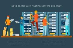 Centre de traitement des données avec les serveurs principaux et le personnel illustration libre de droits