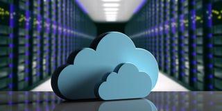 Centre de traitement des données de calcul de nuage Nuage de stockage sur le fond de centre de traitement des données d'ordinateu illustration de vecteur