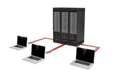 centre de traitement des données du serveur 3d et réseau d'ordinateur portable Photographie stock