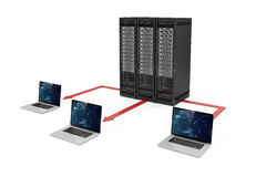 centre de traitement des données du serveur 3d et réseau d'ordinateur portable Images stock