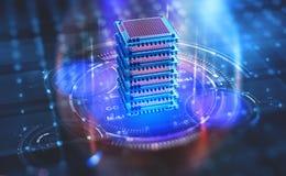 Centre de traitement des données futuriste Plate-forme d'analytics de Big Data Processeur de Quantum dans le réseau informatique  illustration de vecteur