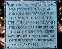 Centre of England plaque. Royalty Free Stock Photography