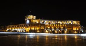 Centre of Erevan in the Night lights Stock Image