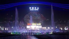 Centre global de Chengdu la nuit banque de vidéos