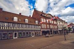 Centre of Horsens, Denmark. HORSENS, DENMARK - JUNE 11: Typical old city houses in the centre of Horsens, Denmark in 2012 Stock Images