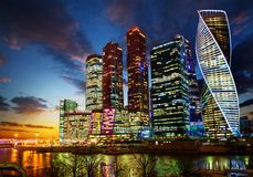 Centre international d'affaires de Moscou de ville de Moscou image libre de droits