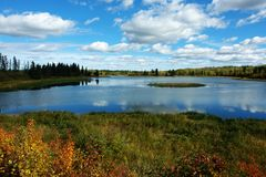 Centre island. View of island and lake, elk island national park, edmonton, alberta, canada royalty free stock photo