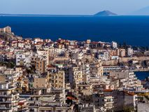 Centre of Kavala city - small island in the background royalty free stock photography