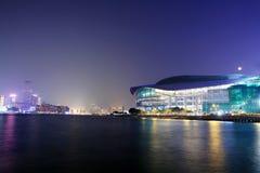 centre konwenci powystawowa Hongkong noc obraz royalty free