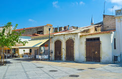 The centre of Limassol. The Limassol Castle surrounded by tourist streets with numerous cafes, bars and shops, Cyprus Royalty Free Stock Photo