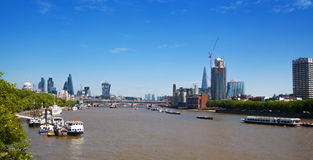 Centre of London view from the London bridge. Royalty Free Stock Photo