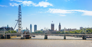 Centre of London view from the London bridge. Royalty Free Stock Image
