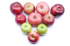 Centre mou du type multiple de pommes au-dessus du fond blanc Images stock