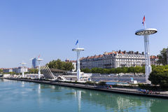 Centre Nautique at the Rhone river Royalty Free Stock Photos