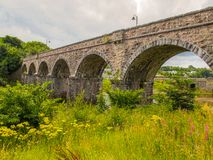 Railway Viaduct, Newport, Co. Mayo, Ireland. Centre piece of Newport, the railway viaduct that once carried steam trains through Newport on their way to Achill stock photography