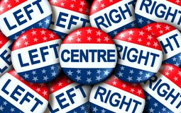 Centre Politics. As left and right wing vote badges as a united states election or voting concept as a symbol with conservative and liberal political campaign stock illustration