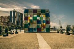 Centre Pompidou Malaga del cubo Fotografia Stock Libera da Diritti