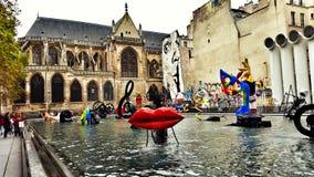 Centre Pompidou Stravinsky-Brunnen Lizenzfreie Stockfotos