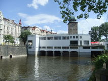 Centre of Prague - Manes tower. Nice view on the Manes tower and the river Vltava Stock Photos