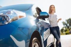 Centre sélectif d'une voiture bleue Photo libre de droits