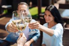 Centre sélectif des verres remplis du vin Photographie stock libre de droits