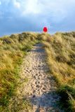 Sandy pathway running through grass sand dunes with a red life belt at the end of the pathway. In the centre a sandy pathway with lots of footprints runs through stock photography