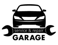 Centre, service de garage et logo automatiques de réparation, calibre de vecteur Image libre de droits
