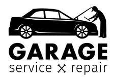 Centre, service de garage et logo automatiques de réparation, calibre de vecteur Images libres de droits