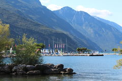 Centre for surfers. On the lake shore, city Torbole Royalty Free Stock Photography