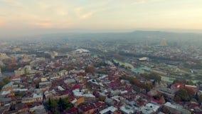 Centre of Tbilisi, Georgia, topview stock footage