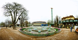 Centre of Tivoli Gardens. Panoramic view of Tivoli Gardens, Copenhagen, Denmark; Second oldest theme park in the world Royalty Free Stock Images