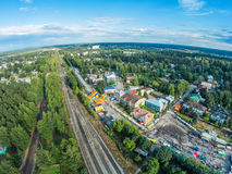 The centre of the village from the height of bird flight. Holiday `Day of the village`. Festive Sunny day in the village Stock Photography