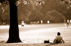 Centrel park new york city. Couple relaxing in central park new york city Royalty Free Stock Photo
