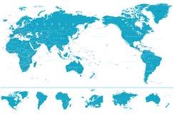 Centrerat och kontinenter för politisk världskarta Stillahavs- royaltyfri illustrationer