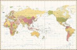 Centrerat Stillahavs- för färg för världskarta Retro royaltyfri illustrationer