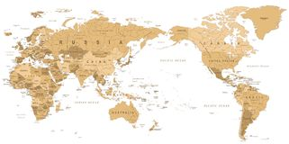 Centrerat Stillahavs- för världskarta för tappning politiskt stock illustrationer