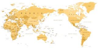 Centrerat Stillahavs- för världskarta för tappning politiskt vektor illustrationer
